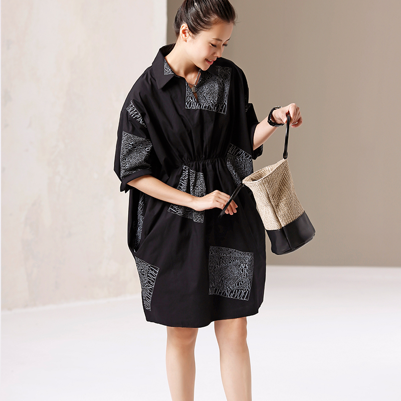 Q9170 Artistic large size printing pleating pure cotton long shirt dress