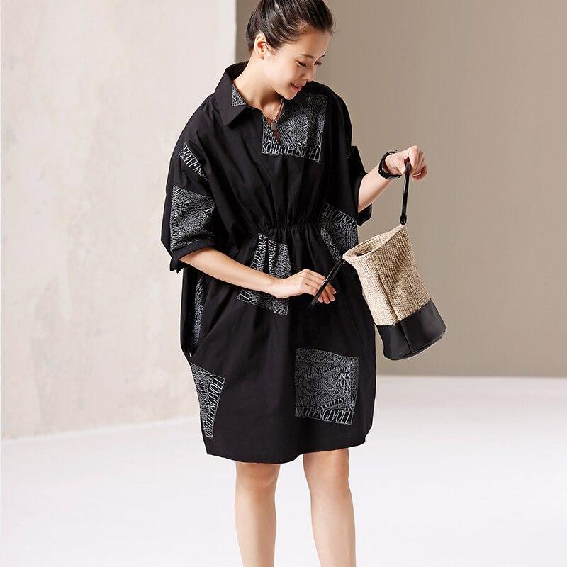 Q9170 芸術大サイズ印刷プリーツ純粋な綿のシャツドレス  グループ上の レディース衣服 からの ドレス の中 1