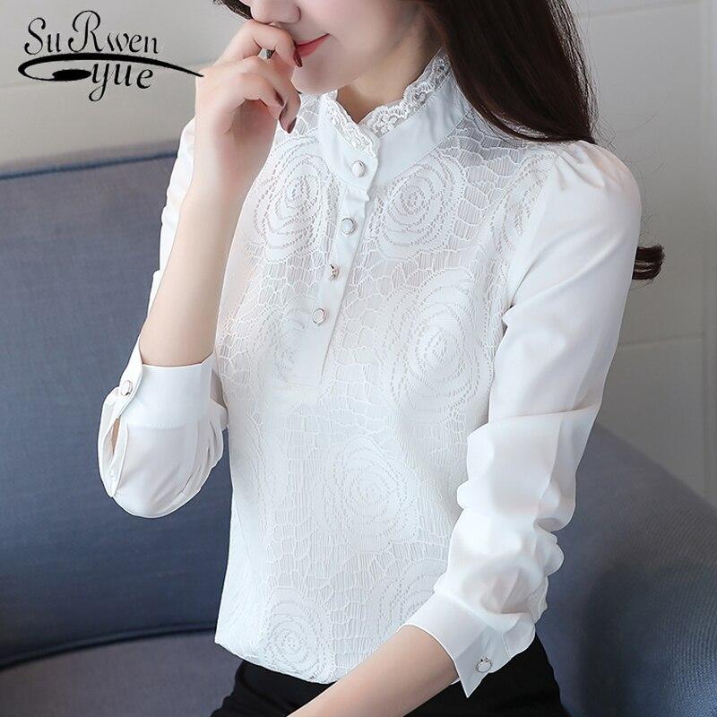 Fashion Plus Size Women Blouses Stand Neck White Office Blouse Women Lace Chiffon Blouse Shirt Long Sleeve Women Shirts 2678 50