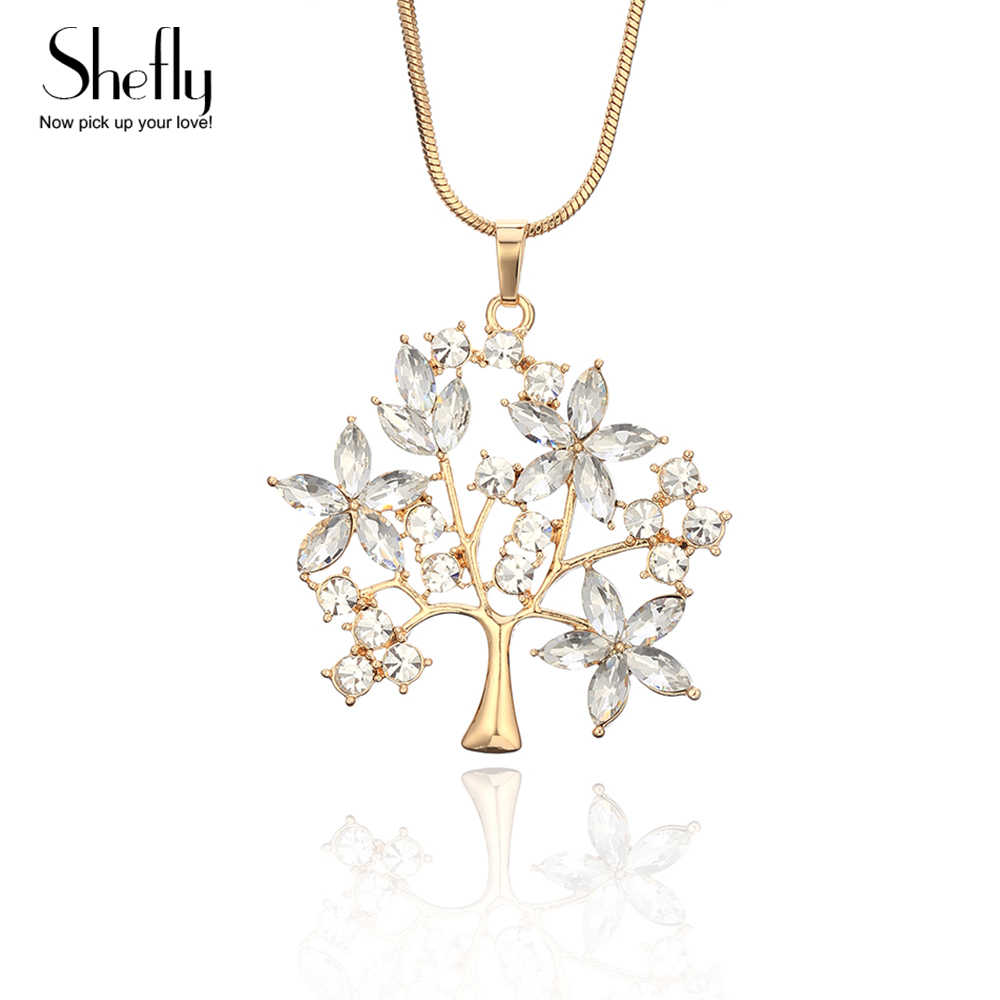 Tree of Life Pendant Silver Gold Necklace For Woman With Big Luxury Crystal Leaves Fashion Sweater Chain Long Necklace Jewelry