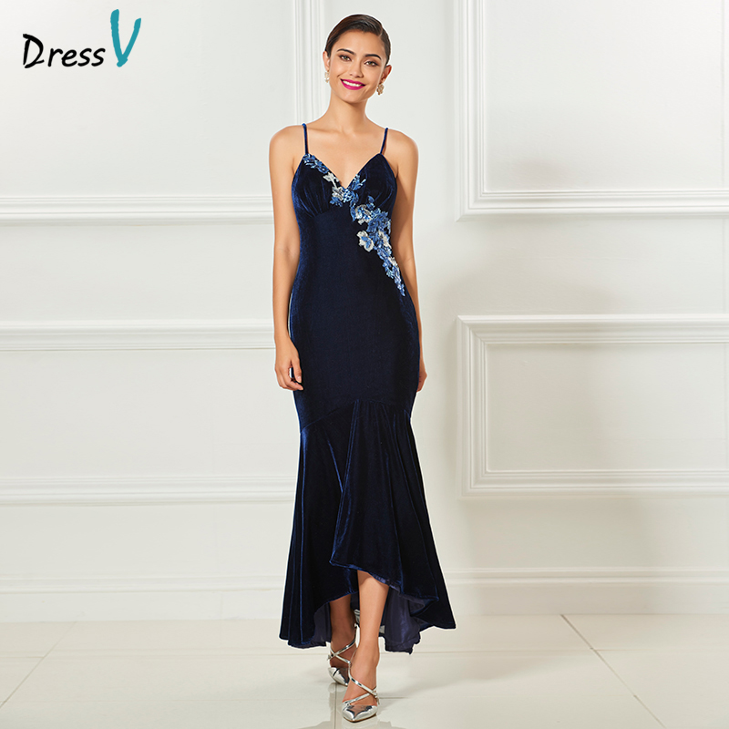 Dressv navy blue 2017 cocktail elegant spaghetti strap tea for Navy evening dresses for weddings