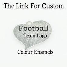 The Custom 10pcs/lot Football Team Heart Dangle Charms Footb