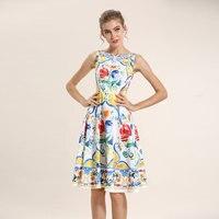 Châu âu Và Hoa Kỳ Năm 2017 Mới Đầu Xuân của Phụ Nữ Bán Buôn Không Tay Eo Thon Cổ Điển Printed Knee-length Dress