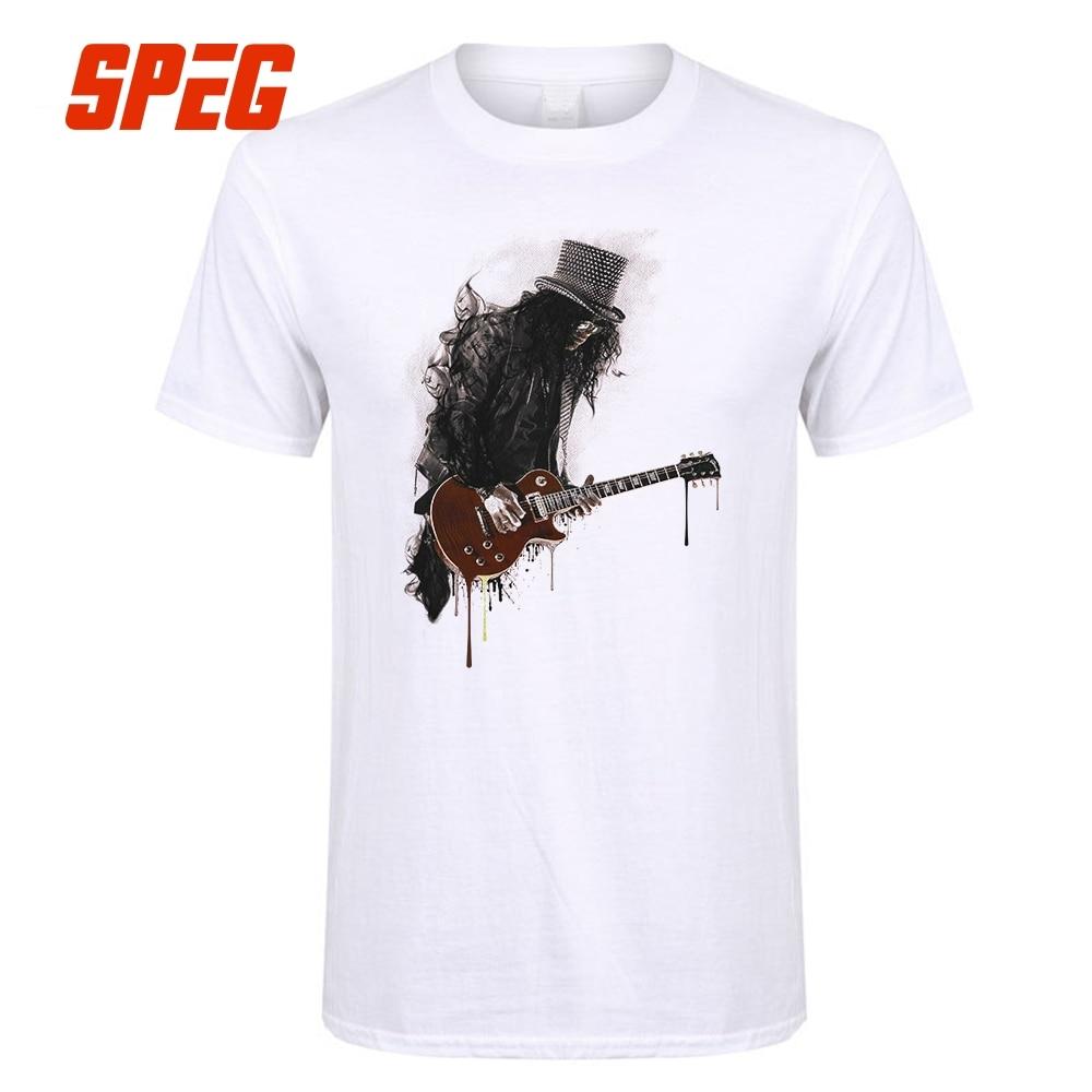 Slash футболка для Для мужчин Гитары рок чернил Стиль пистолет музыка роз человек 100% хлопок короткий рукав Футболка Best продажи Топы корректир... ...