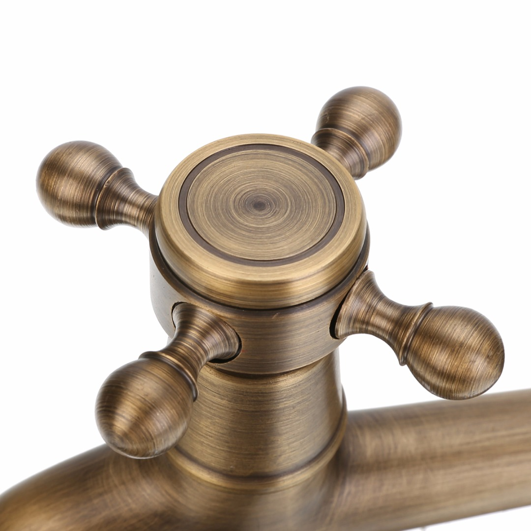 New Arrival Antique Brass Faucet Tap Mayitr Wall Mounted Decorative Kitchen Bathroom Single Faucet in Basin Faucets from Home Improvement