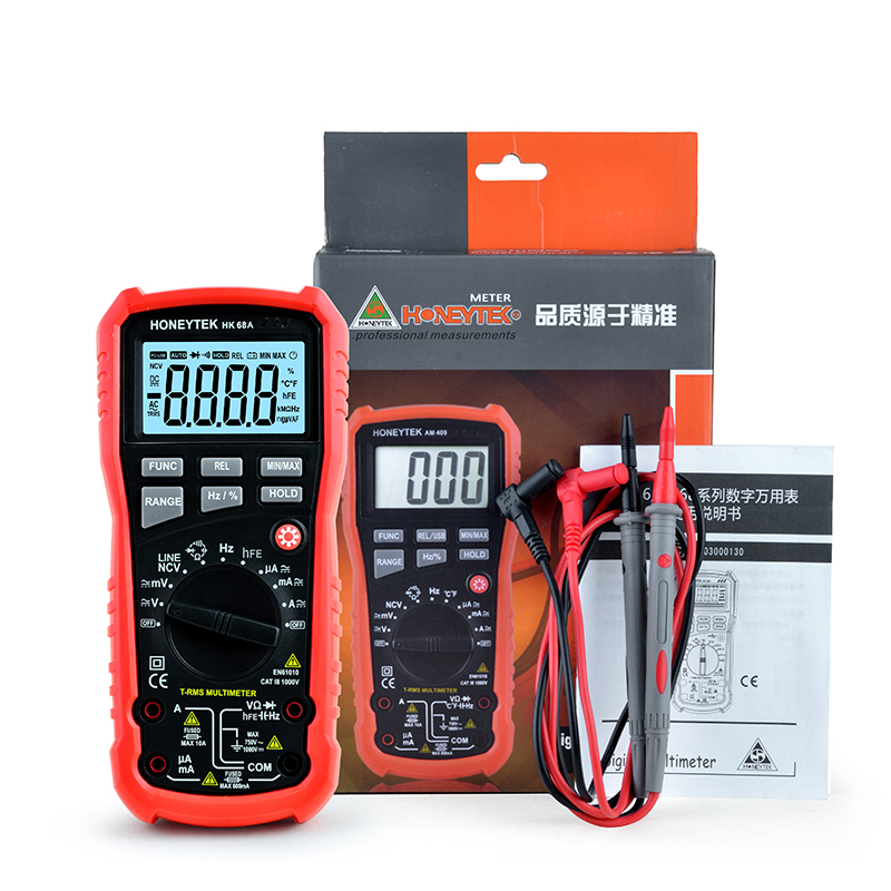 4000 counts HFE Digital Multimeter HK68A with True RMS AC/DC Voltage Resistance Capacitance Frequency Temperature NCV Tester my64 digital multimeter dmm frequency capacitance temperature professional meter tester w hfe test