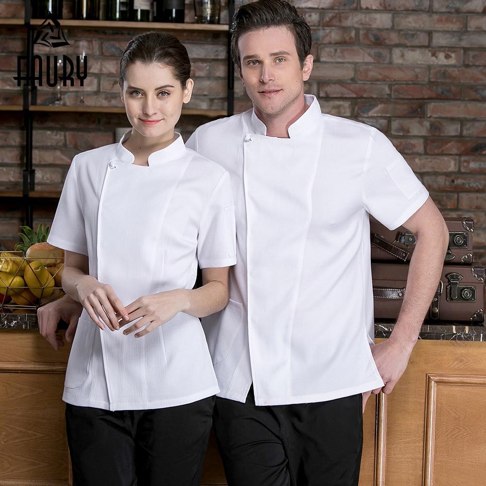 High Quality Chef Short-sleeve Jacket Solid Color Kitchen Restaurant Uniform Hotel Barbershop Men Women Ladies Chef's Shirt