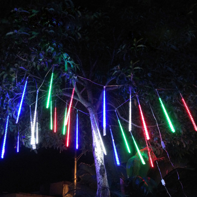 Waterproof 50cm 8 Tube Holiday Meteor Shower Rain LED String Lights For Indoor Outdoor Gardens Xmas Christimas Party Decor Tree
