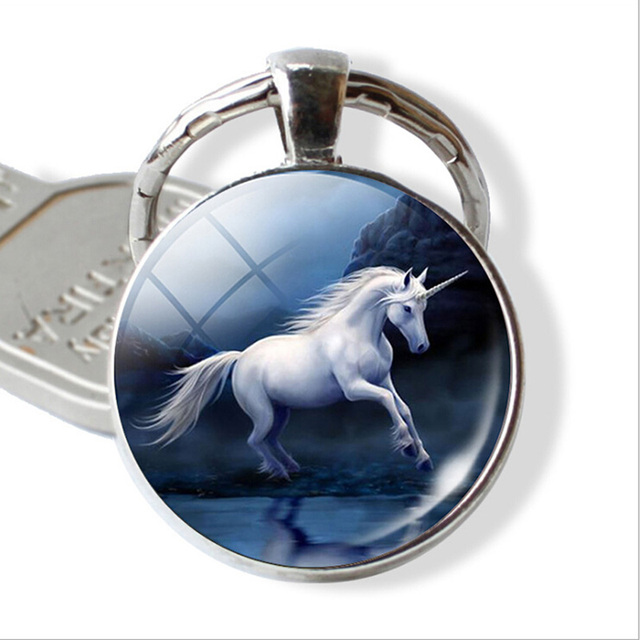 Horse Keychain Trinket Glass Gems Metal Key Chains Rings Holder For Car Keyrings KeyChains Man Woman Jewelry