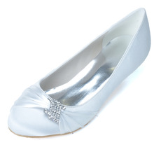 Elegant satin med low heel slip on shoes rhinestone brooch ring pumps for wedding party prom blue Champagne purple white blue