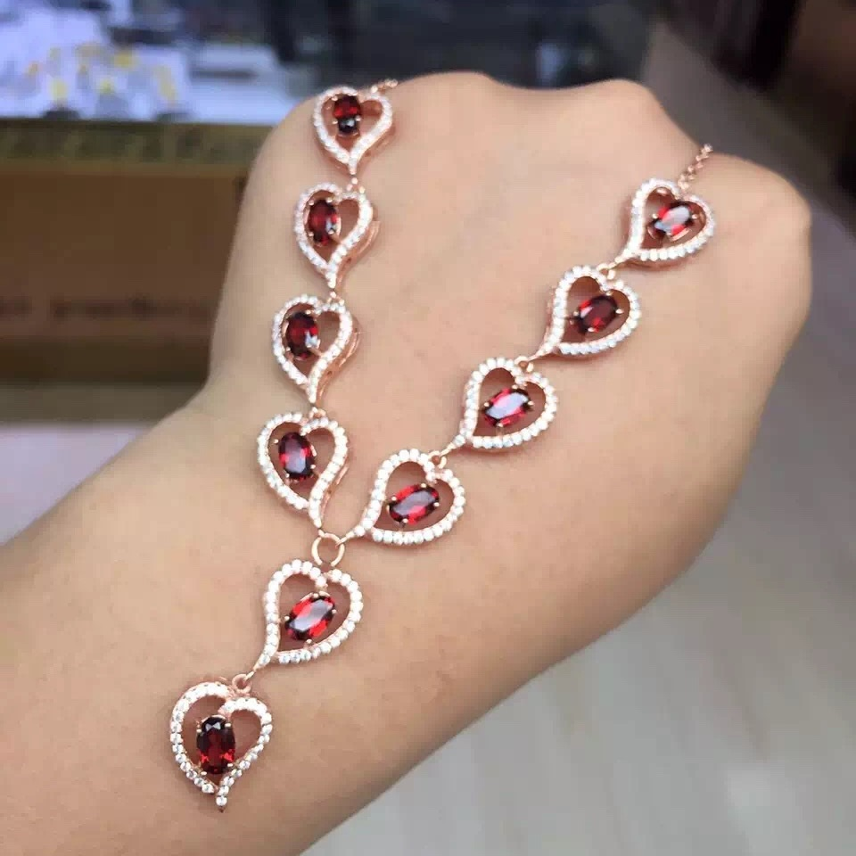 Luxurious Red Garnet Heart Necklace for Women Rose Gold Colar Silver 925 Jewelry 5 7mm Gemstone
