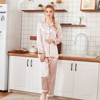 Women Silk Satin Pajamas Embroidery Pajamas Set Long Sleeve Sleepwear Pijama Print Letter Nightwear Shirt&Pant Suit Female