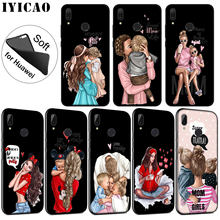 IYICAO Black Brown Hair Baby Mom Girl Queen Soft Silicone Case for Huawei P30 P20 Pro P10 P9 P8 Lite Mini 2017 P smart Z 2019(China)