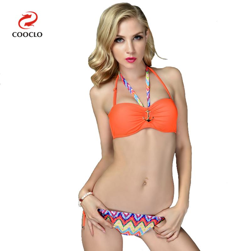 COOCLO 2018 Bikini Women Swimwear Halter Bandeau Top Striped Sexy Bikinis Set Retro Swimsuit Bathing Suit Beachwear Brazilian halter bandeau padded moulded bikini set