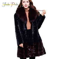 Jade Pride High end Import Luxurious Mink Fur Coat Real Fur Coats High Quality Purple Fox Fur Collar Chaming Overcoat Women Furs