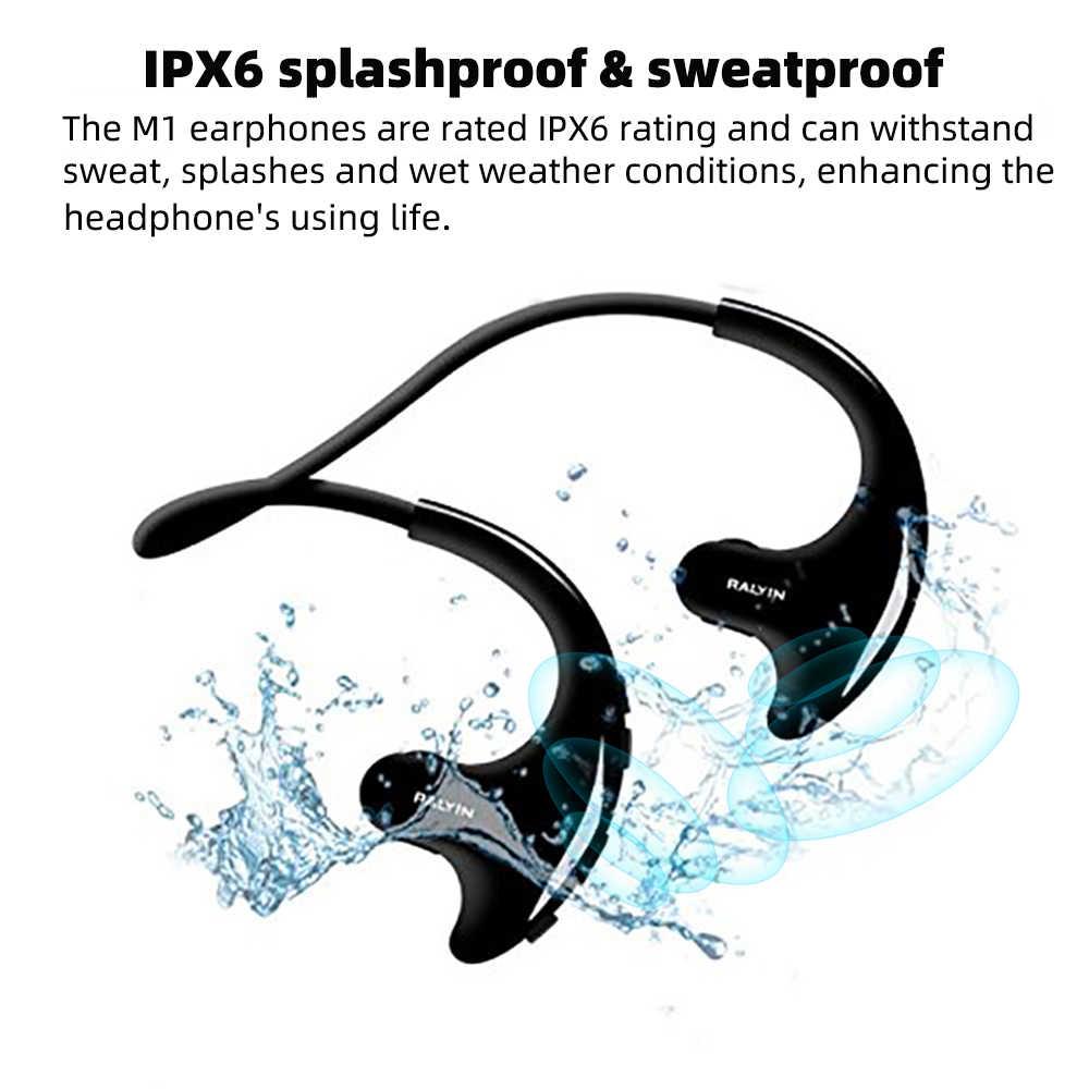 RALYIN بلوتوث MP3 لاعب للماء المدمج في 8GB اللاسلكية سماعة سماعة رأس رياضية تعمل بتقنية البلوتوث مع ميكروفون لجهاز الآيفون mi