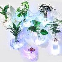 O. roselif 1 pçs criativo nova parede vaso de vidro com luz led terrário hidropônico vaso de flores vaso escritório em casa barra decoração wall glass vases glass vaseglass wall vase -