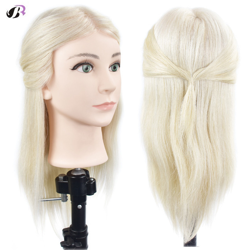 18 Thick 100% Real Human Hair Practice Training Head with Clamp Holder Salon Hairdressing Dummy Head Mannequin Head Model