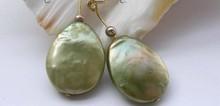 Wb00169 Genuino Natural 19mm verde Perla renacida keshi pendientes