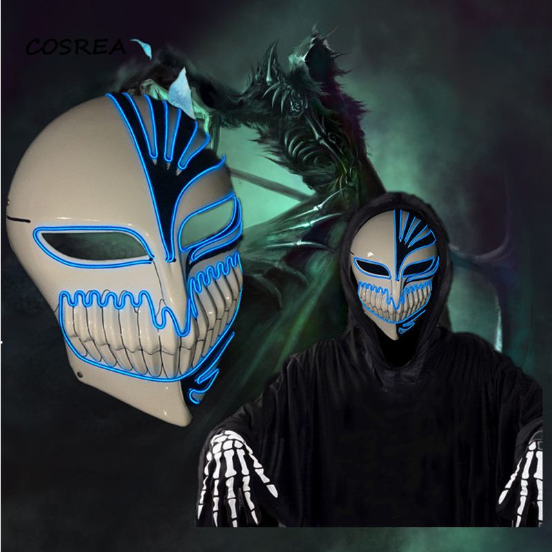 Death Wire Ghost Mask LED Light Up EL Cold Light Mask For Halloween Scary Cosplay Skull Dancing Night Party Luminous Masks
