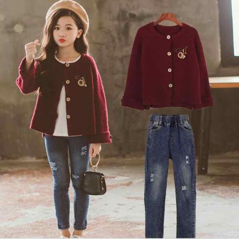 Комплект одежды для девочек, новинка 2019 года, осенняя мода для девочек, дизайн кардиган свитер с длинными рукавами + джинсовые штаны, Джинсы Одежда для девочек из 2 предметов