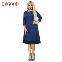 QMGOOD Lace Spliced Large Size Dress 6XL Women Autumn Brand Clothing Casual Sexy Fat MM 3