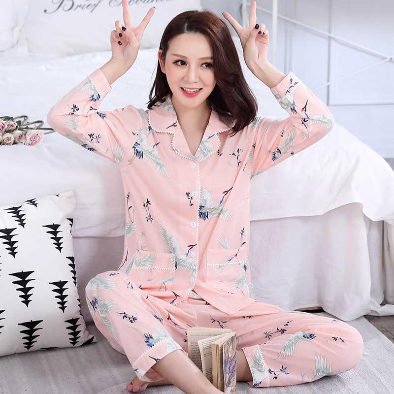 ... Осенние пижамные комплекты с длинным рукавом пижамы 100% хлопок  v-образный вырез милые животные ... 8fcd3f028e3ff
