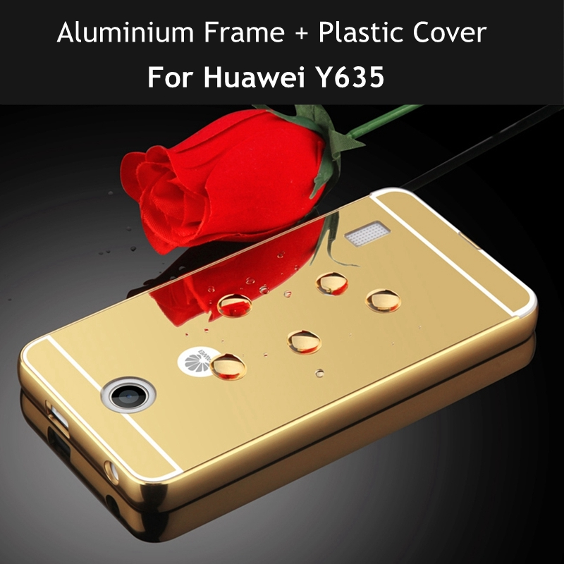Luxury Gold Plating Mirror Case For Huawei Y635 Cover For Coque Case Huawei Ascend Y635 Frame Phone Case for Huawei Y635 Y 635