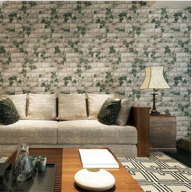 Beibehang 3D Stereo Ivy Brick Wallpaper Paper Chinese Style Self-adhesive Imitation Brick Tea Restaurant Wallpaper Paped Pared