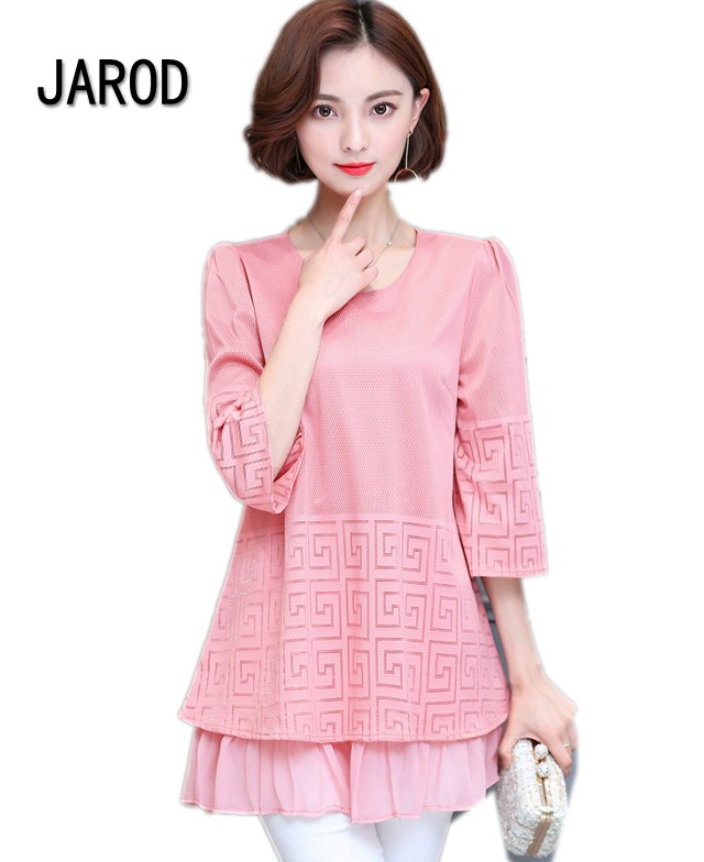 5XL Women Spring Summer Fashion Elegant Lace Blouse Shirt Chiffon 3 4 Sleeve Sexy Tops Plus