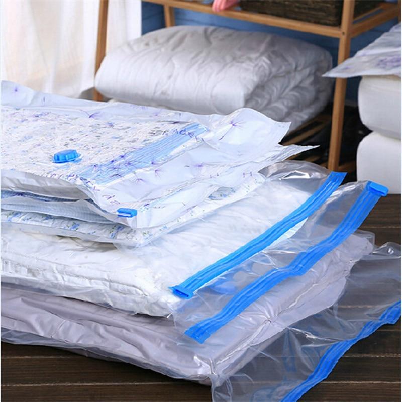 2017 New Vacuum Bag Transparent Border Foldable Extra Large Compressed Organizer Storage Bag Saving Space Seal Bags Free G092