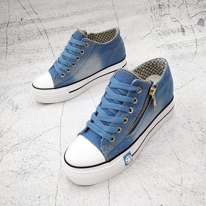 Blue Schuhe Größe Herbst Blue Leinwand Frau Frauen Casual Dark Seite Plus Zipper light Weiblichen Denim Sommer 4gwOOI