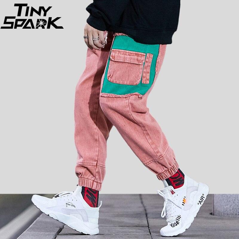 Homens Denim Calça Jean Rasgado Afligido 2018 Harajuku Hip Hop Calça De Carga Calça Harém Retro Streetwear Jeans Multi Bolsos Calças