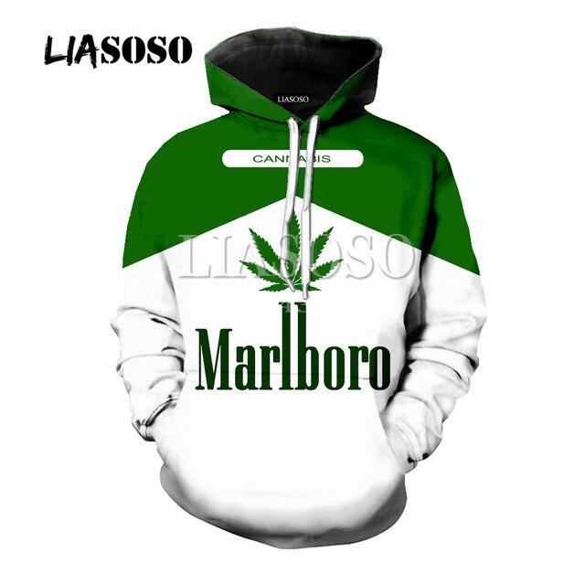 LIASOSO новый для мужчин женщин 3D печатных сигареты футболки для девочек Harajuku рубашка с изображением травки Уличная толстовки/Толстовка/молния одежда с капюшоном Y423