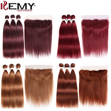99J/Burgundy Human Hair Bundles With Frontal Pre-Colored Brazilian Straight Weave Closure Non-Remy KEMY HAIR