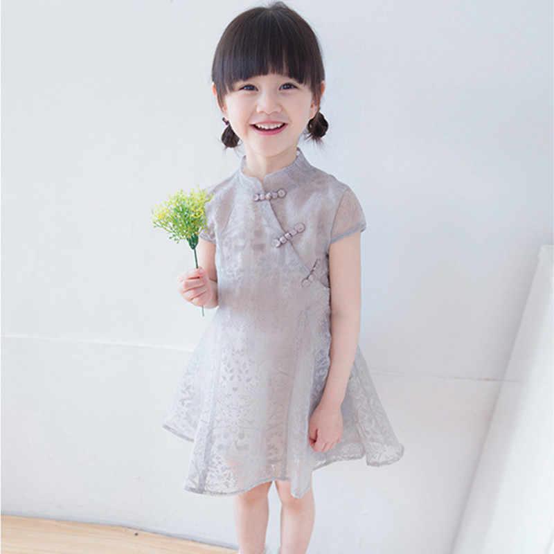 2e00296a6 DFXD Baby Girls Summer Dress 2018 Chinese Style Short Sleeve Gray/Pink Cheongsam  Toddler Dress
