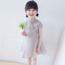 DFXD Baby Girls Summer Dress 2018 Chinese Style Short Sleeve Gray/Pink Cheongsam Toddler New Arrival Kids Costumes 2-8Year