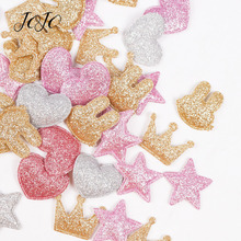 JOJO BOWS 100pcs Glitter Patches Shiny Solid Crown Heart Star Rabbit Accessory For Apparel Sewing Materials Garment Decoration
