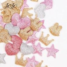JOJO ARCHI 100pcs Glitter Toppe e Stemmi Solido Lucido Corona Cuore Star Coniglio Accessori Per Abbigliamento Materiali di Cucito Decorazione Dell'indumento