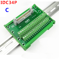 IDC34P male socket to 34P terminal block breakout board adapter PLC Relay terminal station DIN Rail Type