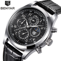 BENYAR Mens Watches Top Luxury Moon Phase Full Steel Quartz Chronograph Watch Sports Military Waterproof Wrist Watch Hour Clock