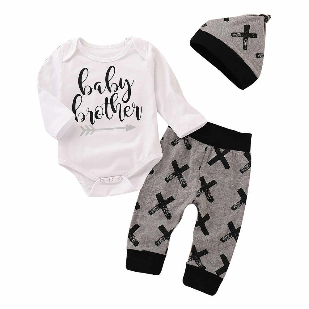 475eff1276848 MUQGEW Newborn baby boy clothes Letter Romper Tops+ Pants Hat 3PCS Outfits  Set ropa recien nacido roupa menino kids clothing