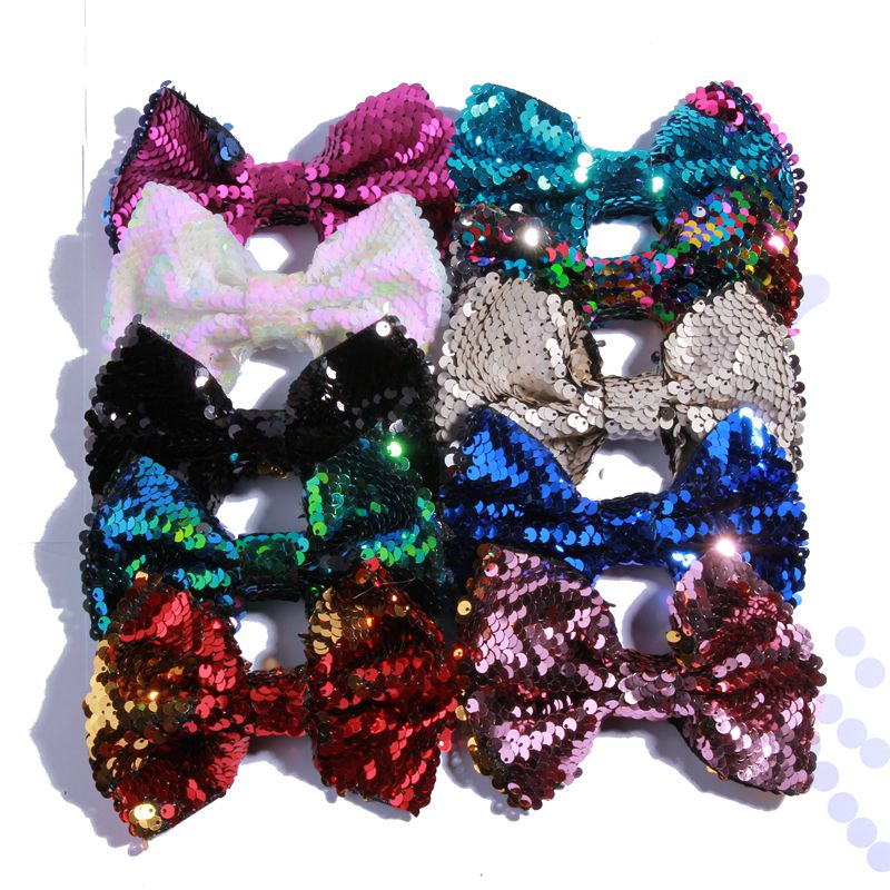 120PCS 13CM Big Luxurious Sequin Bows For   Headwear   Hair Clips Shiny Bowknot Bow For Hair Accessories Apparel Accessory