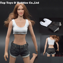 JXTOYS-017 1/6 scale female girl young laday short Sexy vest Denim shorts suit for PH big breast action Figures body 1 6 scale woman dress zy toys zy5024 maid suit sexy female clothes set suitable for ph big breast action figures body
