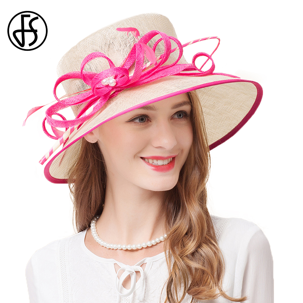52a3254679d 2018 Lady Wide Brim Sinamay Kentucky Derby Summer Hat For Women Linen Flat  Top Hats Elegant Flower With Pearl White Church