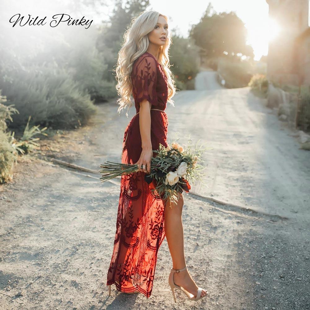 39047e835 WildPinky Sexy ver a través de Borgoña encaje vestido de verano de las  mujeres de cintura