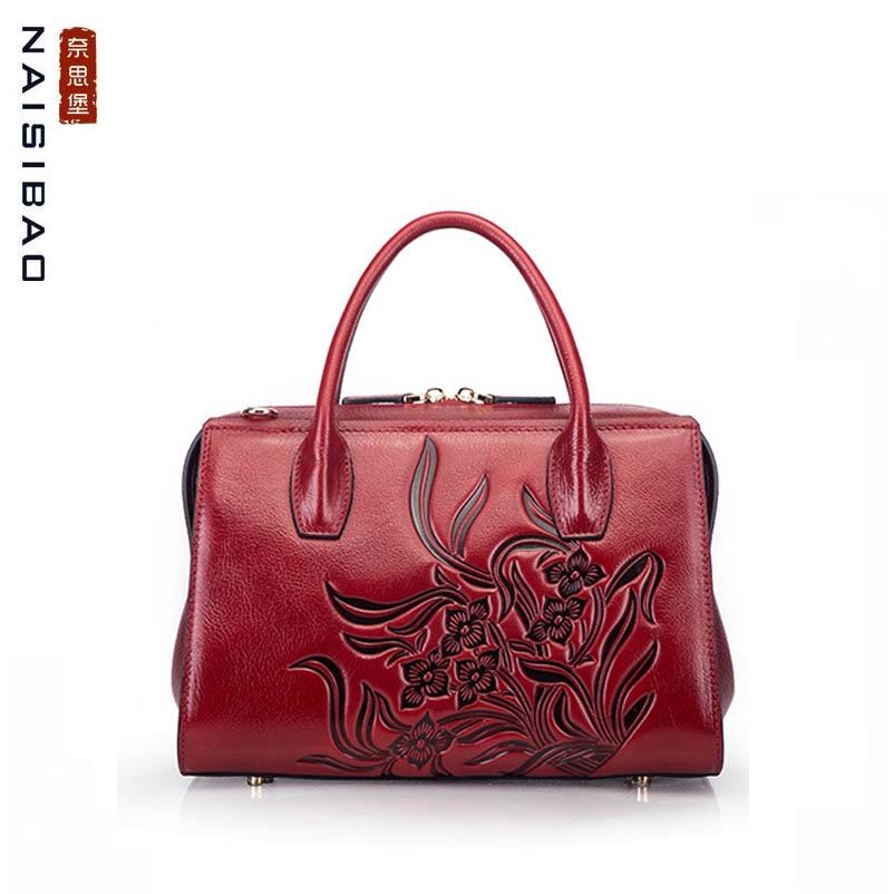 NAISIBAO 2019 New women Genuine Leather bag Embossed Top cowhide fashion luxury handbags designer women leather Boston bag