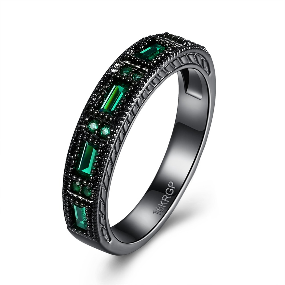 Plated black gold ring with crystal glass green simple charm style fashion jewelry for woman beautiful Christmas gift R865