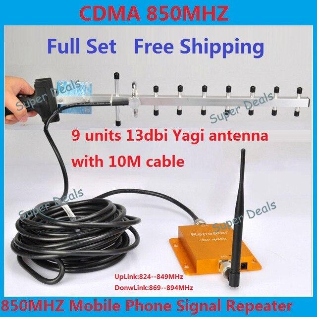 Conjunto completo de Venda Quente CDMA 850 Mhz GSM Repetidor do Impulsionador telefone Celular Repetidor de Sinal Amplificador Booster + Yagi Antena + 10 M cabo