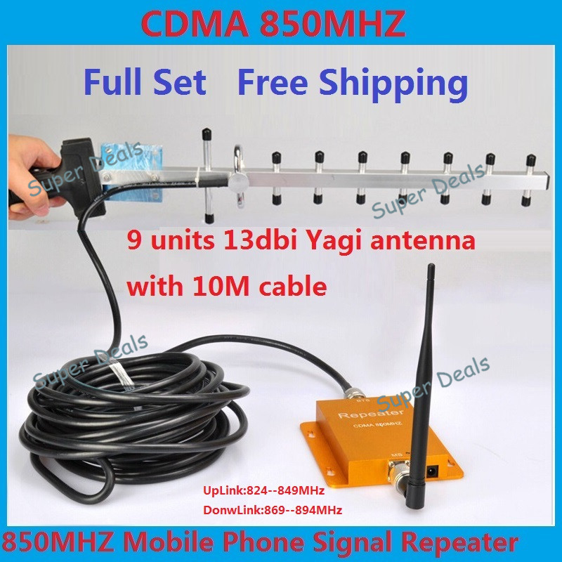 Full Set CDMA 850 Mhz GSM Repeater signal Booster Cell phone Mobile Signal Repeater Amplifier Booster + Yagi Antenna Cable